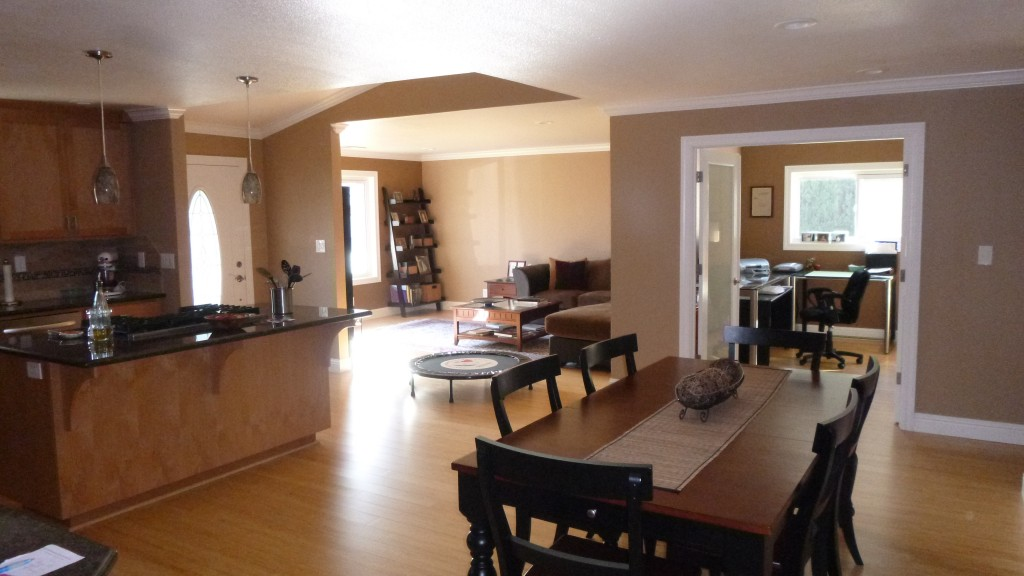 CA home kitchen, dining rm, living rm, and office